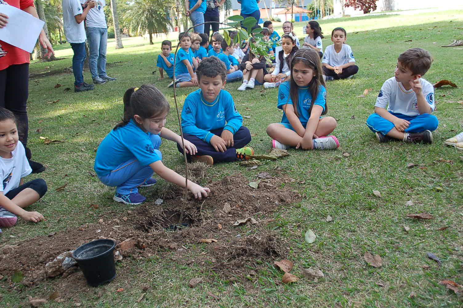Alunos do colégio CEMI plantam mudas de árvores no Parque Jardim das Nações