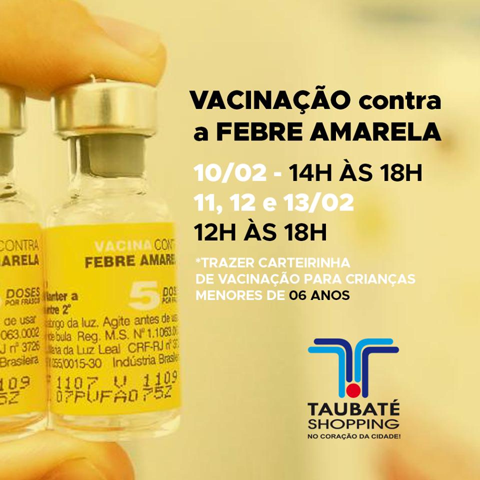 Taubaté Shopping terá campanha de vacinação contra a Febre Amarela